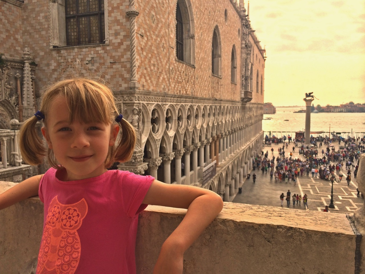 Lucy overlooking Saint Mark's Square
