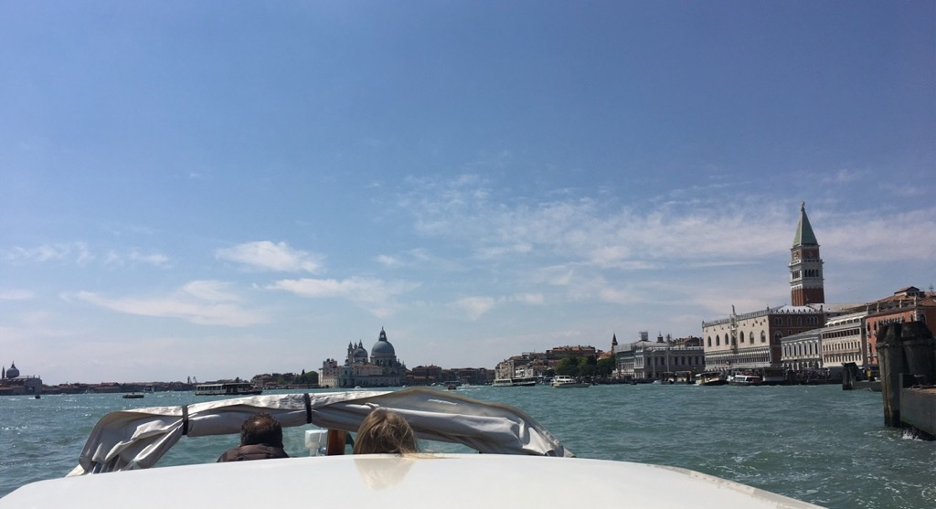 Approaching Venice from the airport in a water taxi