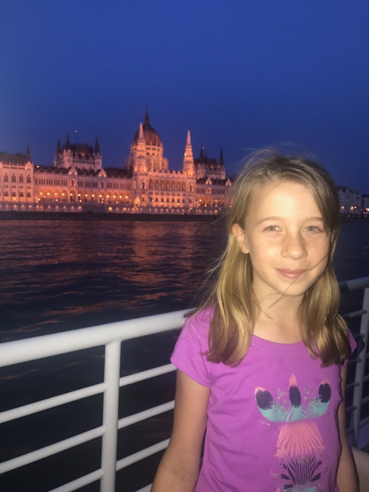 Lucy on the cruise passing the Hungarian Parliament