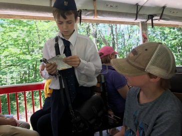 The conductor on the children's railway