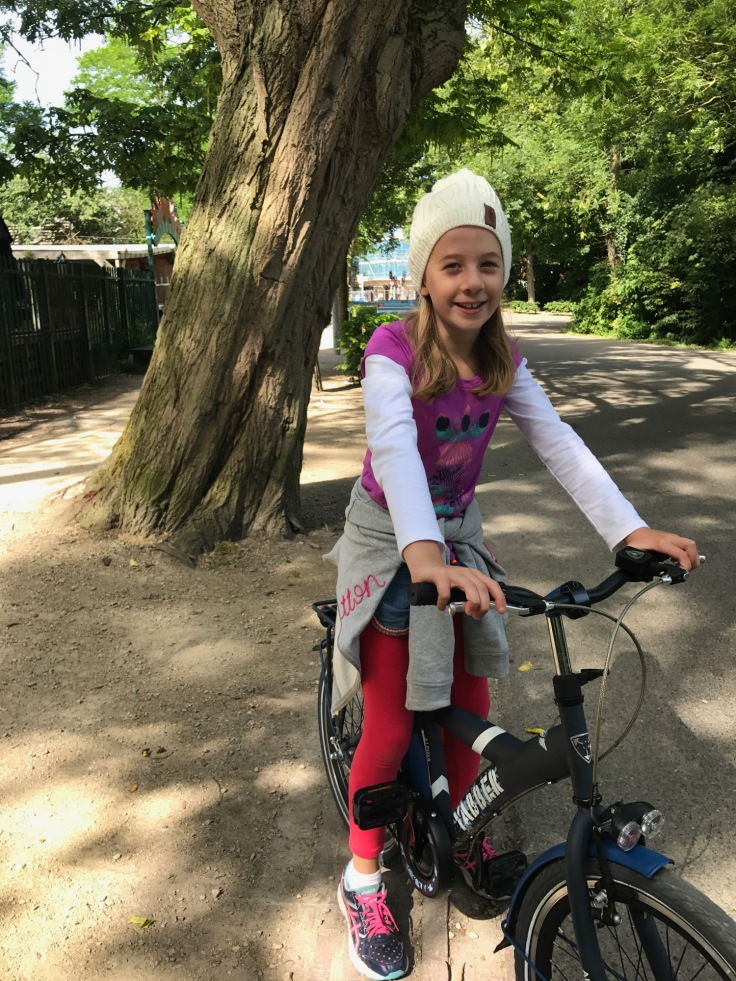 Lucy riding in the park in Amsterdam