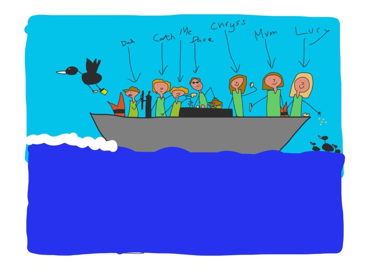 One final bonus photo - at the request of Chryss, here is a drawing by Oli of us all in the boat.