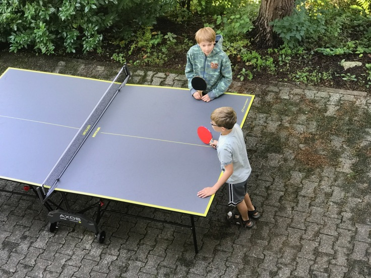 The Olivers playing table tennis