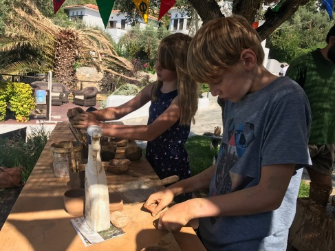 Kids making clay creations