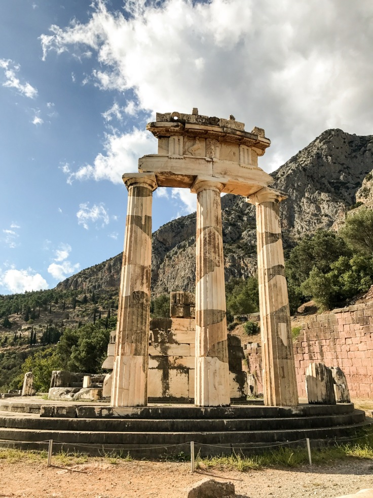 A ruined temple at Delphi