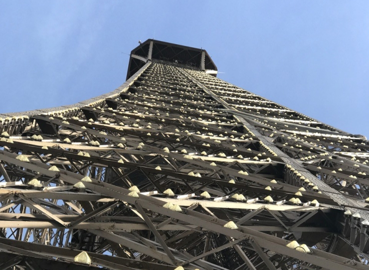 Close up of the Eiffel Tower.